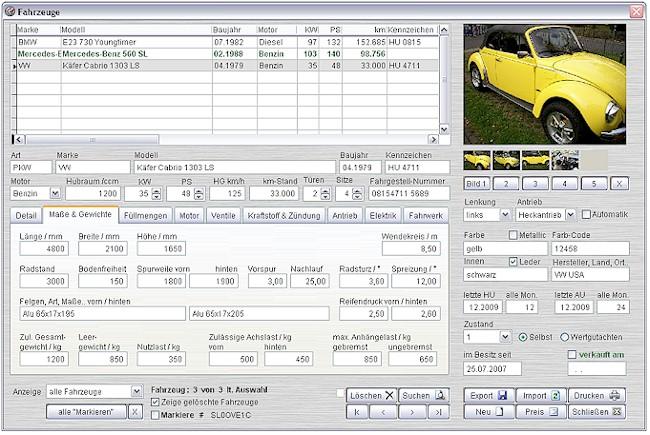 Screenshot vom Programm: CarFox Oldtimer Verwaltung